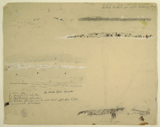 Horizontal series of sketches, at top left: gulls; at top right: distant view of the coast; at second row: rocks of the coast of Great Manan [thus], a hill range is in the background; and at third row left: cloudy sky over hills.