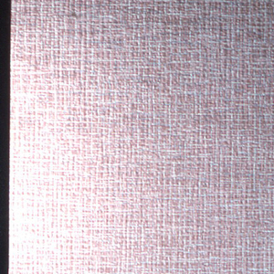 Pale blue, grey and rose lines imitating a linen textured weave with metallic silver overlay on a pink ground.