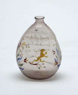 Clear glass tear-drop shaped bottle with painted decoration.  Dragon central figure on bottle
