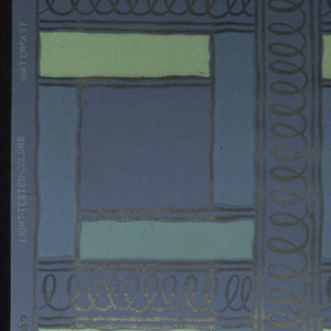Lime green, dark green, and grey stripes forming blocks bordered by metallic gold squiggle lines on a plum ground.