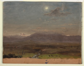 View across a valley looking toward a mountain range with cloud capped peaks.  Snow covered peaks are shown in the background.  Full moon.  Grazing cattle and a house are shown in the right foreground.  Bottom margin showing rose grounding color.
