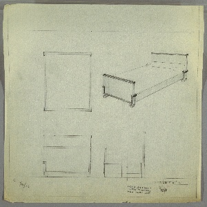 Design for bed. At upper right, perspective shows bed with rectilinear headboard and footboard, the former taller than the latter, both of whose upper edges are capped by cornice in contrasting material. At height of lower edge of mattress, both boards meet horizontal trim in contrasting material; at front, this trim angles downward to wrap lower edge of footboard. Planar side rails. Feet are U-shaped, possibly metal. At upper left: plan without dimensions. Below, at lower left and right, front and broken side elevations, also without dimensions. Inscribed with K. for Kroehler Manufacturing Company. Inscribed with Deskey No. 7548. Margins ruled in graphite.