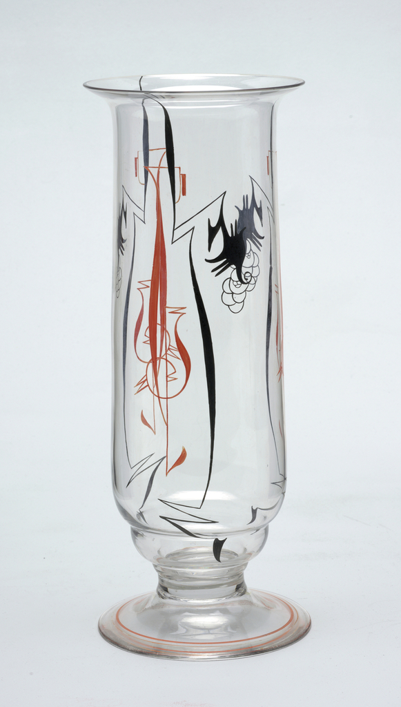 Clear glass vase with red and black enamel decoration