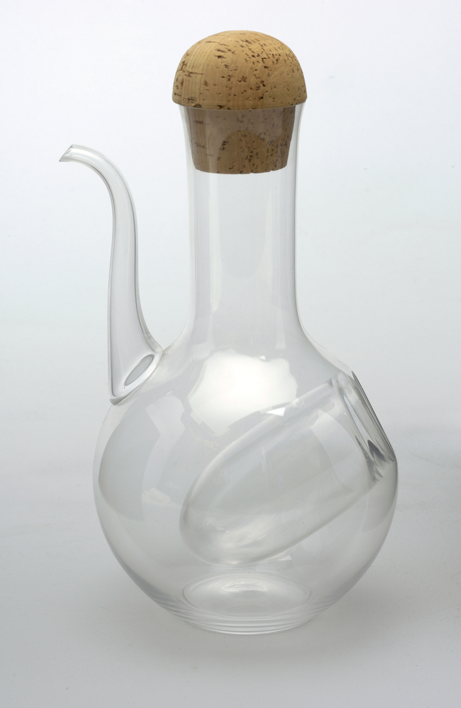Decanter with long upturned spout with cork stopper