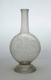 Clear glass decanter with long neck and flatened bulbous body, dog chasing stag etched on body