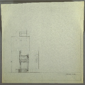 Design for table lamp. At lower left, elevation for object with semi-oblong base into which is set, off axis, an angular U-shaped body. This body almost resembles a catamaran in the way it seems to balance object. At top of U, three probably clear glass tubes extend past its planes on either side. Right arm of U supports socket and ovoid or rectangular shade. Above, at left, plan view; at lower center left, side elevation of base. Margins ruled in graphite.