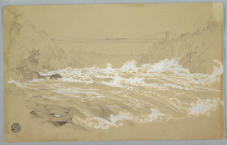 Horizontal view upstream, with spray of river in white gouache, while river banks and suspension bridge with railway train are rendered in graphite.