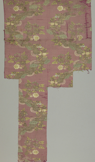 a/: a dull pink ground with two serpentine bands of silver thread from which flowering sprays are thrown out in faded pink, yellow and green.  See: records for 1941-62-6-b and -c for two other fragments which were a set with -a, but are deaccessioned.