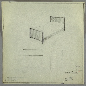 Design for bed. Above, perspective shows bed with planar head- and footboard, the former taller than the latter. Each is trimmed with contrasting material that extends downward to form legs at front and rear. Trim has curved lateral edges. Side rails are planar and in same material as boards. Below, at left and right, front and broken side elevations provide additional views. Margins ruled in graphite. Inscribed with Deskey No. 7954.