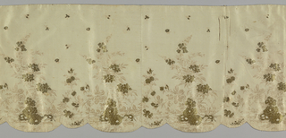 Scalloped valance made from several pieces of a thin beige silk cloth, horizontally ribbed and with finely drawn naturalistic bunches of garden flowers with widely scattered detached sprigs, in deeper beige silk floss; groups of flower heads in two kinds of gold metal thread. Plain selvage and lined with glazed cotton cloth.