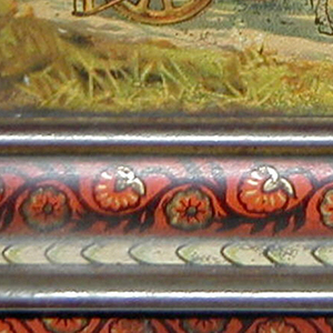 Rococo-revival style form with Indian figural scenes. Decorative border of a flowering vine on a red ground.