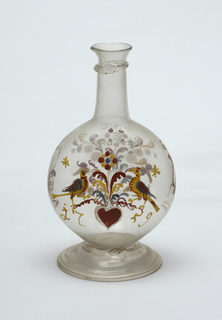 Clear glass bottle with long neck and circular body.  Painted decoration, a pair of love birds with heart central figure