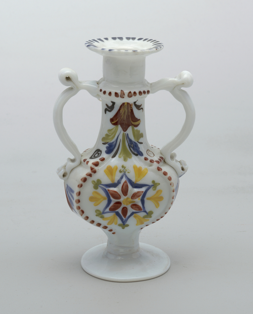 Two-handled vase with a slightly heart shaped body, white glass with painted decoration
