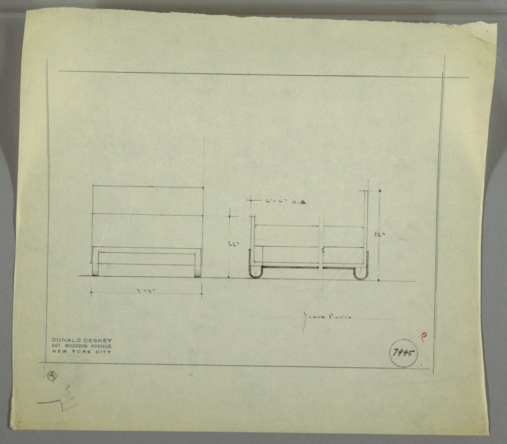Design for bed seen in front and broken side elevation. At left, front elevation for bed with planar head- and foot-boards; rectilinear frame runs width of footboard. At right, broken elevation indicates headboard is taller than footboard, and that frame at bottom of object includes U-shaped feet that run perpendicular to object length; frame runs length of bed and is symmetrical. Margins ruled in graphite. Inscribed with Deskey No. 7945.