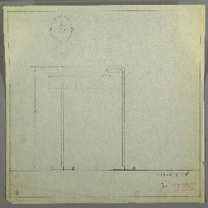 Design for floor lamp. At right, side elevation of lamp with circular base four round feet from which tubing extends upward before bending leftward and then downward to hold squat, circular shade. At left, front elevation with dimensions. Above, left, plan describes object base. Margins ruled in graphite. Inscribed with Deskey No. 319.
