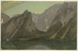 Horizontal view of mountains and a lake in the foreground, taken from a more northern standpoint than 1917-4-569A.  St. Bartholomae is shown in the left middle distance, the gully in the right center.