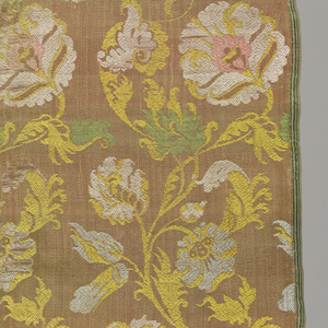 Large square of peach color satin with rococo floral pattern in light green, yellow and white.