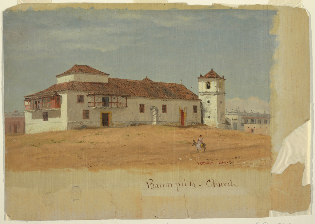 A study of a two story structure, identified as the Church in the town of Barranquilla, Columbia. The building is presented from the rear, prominently displaying the second story balconies. At right, the campanile, or bell tower, is shown. Behind the building, at left and right, additional buildings are shown. In the foreground a figure riding a burro animates this scene.
