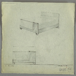 Design for bed. Above, perspective shows bed with tall planar headboard and shorter planar footboard, sheathed at right by rectangular L-shaped plane of contrasting material, the lower section of which extends across object width. Bed is supported at front by two U-shaped feet and at rear by headboard, which extends to ground level. Side rails support mattress with bed linens. Below, at left, front elevation provides additional details about layered composition of materials. Margins ruled in graphite. Inscribed with Deskey No. 7392.
