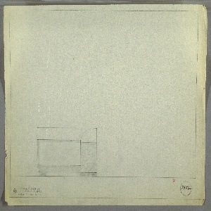 Design for bed. At lower left, front elevation describes rectangular headboard, taller than footboard, which is comprised of superimposed rectangular planes in different materials. Main plane is rectangular, possibly in a burl wood, superimposed at right by rectangle in contrasting material, which is bordered above and at right by trim in same material as main plane and extends downward to form front foot; foot at right is wide rectangle. Margins ruled in graphite. Inscribed with Deskey No. 7952.