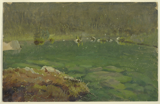 A tripart to part of a lake.  A stony shore is in the left foreground, a wooded shore is in the rear.  A piece at the left edge is unflinished showing the cream colored background.