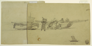 Horizontal view of side of a boat drawn up on a beach with an indistinct number of men and women unloading it while another woman walks with a bucket of fish on her back; stern of another boat visible at left; small sketch of a boat with a sail, at bottom right.
