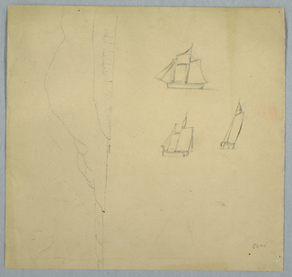 Recto: Vertical views with a beached row boat seen from the bow and a sailing ship at top with a cloudy sky over wooded ridges at center. Verso: In opposite direction showing an oblique view of a mountainous shore seen horizontally and three views of a sailing ship.