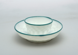 White glass blue/turquise glass rim on cup and saucer
