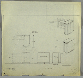 Design for cabinet for the George C. and Eleanor Hutton Rand apartment. At upper right, perspective shows cabinet in open, L-shaped configuration. Semi-oblong base and top sandwiches shelving, which is vertically divided between two identical, symmetrical units, the left one of which pivots open. Below, perspective shows unit in closed position. At center right, plan with dimensions indicates materials and footprint of object in both positions, while below three elevations (from left to right: front, side, and rear) further indicate composition of materials. Object sides wrapped in white leather, base in metal with gold finish, and top is mirror with metal frame. Inscribed with Deskey No. 7891.