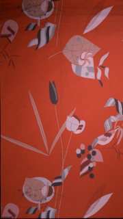 Very stylized bird, flower and leaf forms. Printed in color on an orange ground. Wiener Werkstatte.