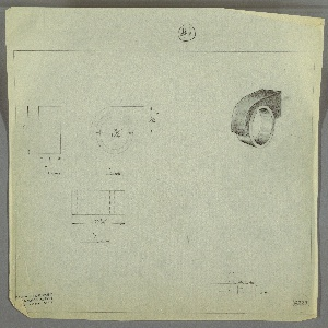 """Design for ring-shaped drawer knob. At upper right, perspective shows quarter-oblong-shaped volume with downward curving front edge, into which is set a ring-shaped finger grip. At upper far left, front elevation with dimensions shows that sides of components in plane with one another; at upper left, side elevation provides dimensions. Below, plan provides additional dimensions. Margins ruled in graphite. Inscribed with Deskey No. 6227 and """"#1"""" circled at top margin."""