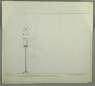Design for torchiere lamp in marble-glass and polished bronze or chrome. At left, object shown in elevation: two-tiered circular base with trefoil mount from which extend three marble-glass rods. These terminate above in similar trefoil mount on which rests another disk, on top of which a number of spherical feet support cylindrical shade with widening lip. Above, object seen in plan. Margins ruled in graphite.