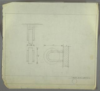 Design for circular drawer pull. At lower right, side elevation shows squat cylindrical volume mounted vertically between two horizontally-oriented U-shaped brackets, which attach to drawer front. At upper right, plan reveals that bracket is U-shaped in plan, as well, with angled corners at rear where it abuts drawer front. Below left, front elevation provides additional view. Margins ruled in graphite.