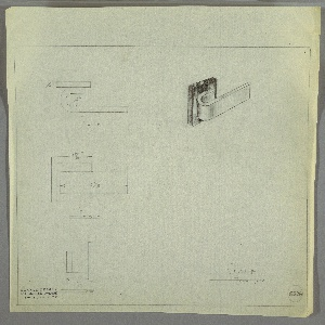 Design for J-shaped drawer pull. At upper right, object shown in perspective: horizontally-oriented J-shaped pull is mounted, by its shorter leg, to square plate in contrasting material. At left, from top to bottom: plan, front elevation, and side elevation, each with dimensions. Margins ruled in graphite. Inscribed with Deskey No. 6226.