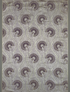 Pale violet satin figured in white and purple in a design adapted from the Iranian carnation.