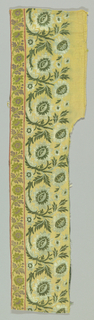 Tan ground of fine cotton twill with design of continuous scrolling sprays of sunflower-like flowers and toothed leaves in green and white silk cloth binding. Guard strips at bottom with small scrolling flower sprays in mauve and yellow-green. Bud and pencil stripe guard borders. Selvage is plain in border, twilled in field