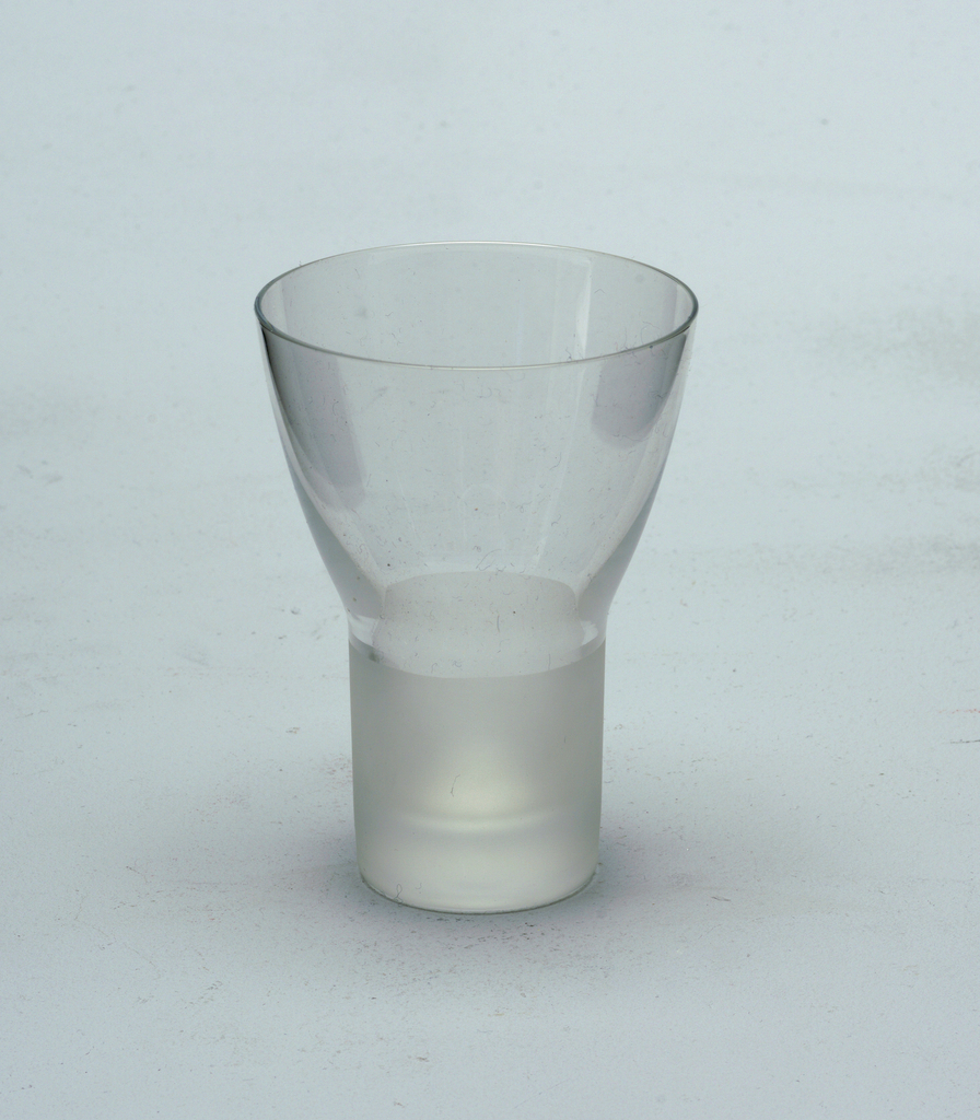 Clear glass goblet with frosted glass stem.  Sherry
