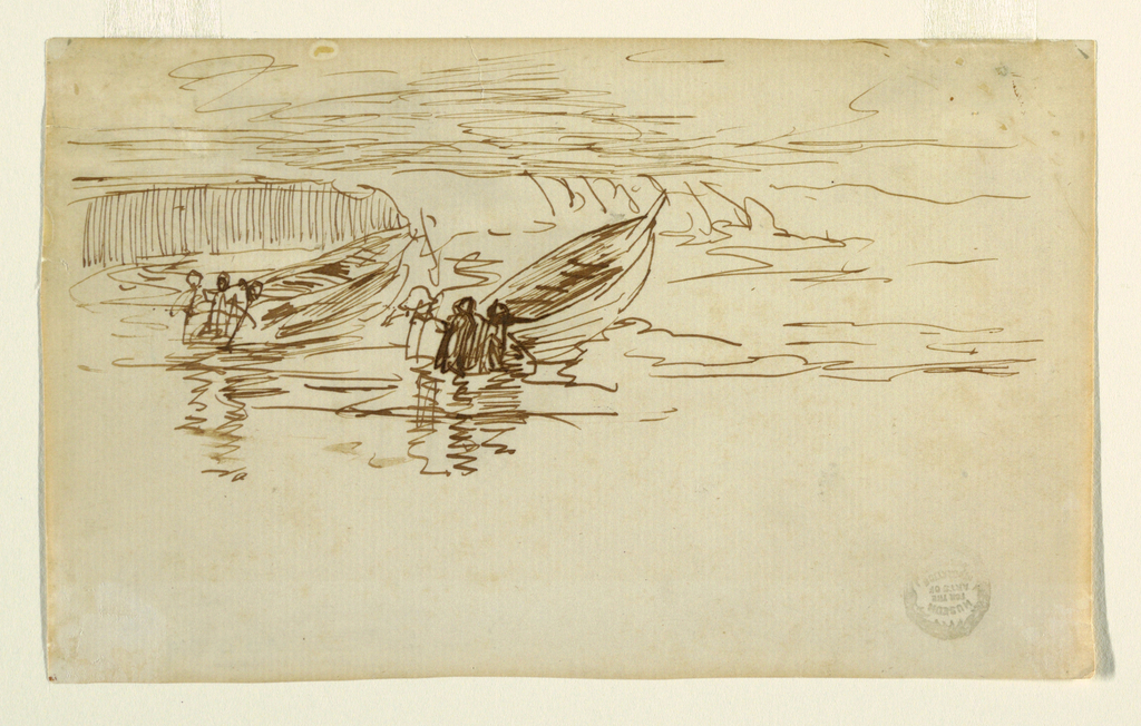 Horizontal view of two dories being launched into the surf by men in oilskins.