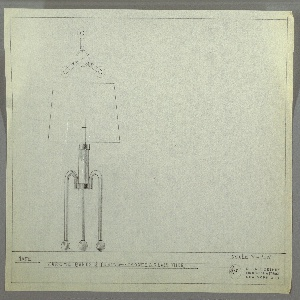 Design for table lamp. At lower left, elevation view shows lamp with cylindrical frosted glass tube body supported by three, candy-cane-shaped, tubular legs resting on spherical feet. Shade is truncated cone. Above, plan view. Inscribed with Deskey No. 375. Margins ruled in graphite.