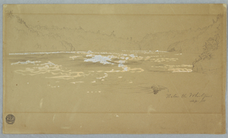 Horizontal view of the Niagara River below the whirlpool, visible in the right central distance, shown from the Canadian bank, with a high bottom margin.
