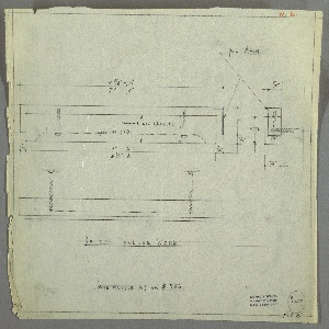 """Design for drawer pull in polished aluminum and black lacquered wood. At upper left, front elevation of two-layer rectangular drawer pull indicates dimensions and locations of screws to affix to drawer front, as well as relative depth of finger pull. At upper right, section further describes how two pull components screwed to one another and, again, to drawer front. Materials and dimensions indicated. Below, at left, plan provides additional view. Inscribed with Deskey No. 6117 and note referencing """"SAME HANDLES AS ON # 756"""". Margins ruled in graphite."""
