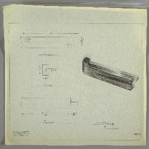 Design for drawer pull. At right, perspective drawing for rectangular drawer pull with curved left edge consisting of two layers; outer layer is shaded heavily and possible indicates different material and is set onto inner, horizontal layer. Above left, a plan indicates that inner piece extends beyond plane of the outer; at center left, a side view indicates depths of components, while below, front elevation provides additional dimensions. Margins ruled in graphite. Inscribed with Deskey No. 6220.