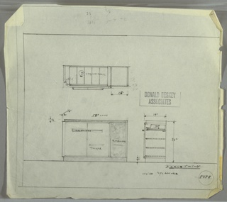Design for sideboard shown in plan and front and side elevations. Rectangular, asymmetrical object with base, right side, and top in rosewood and paired cabinet at left in Thuya wood; interior would be sycamore. Cabinet is bumped slightly from carcass and accessible by horizontal rosewood pulls. Inside cabinet are seven organizational compartments seemingly on sliding drawer as well as shelving below. Also shown in plan and side elevation. Inscribed with Deskey No. 8378.