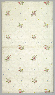 White silk with a grosgrain ground with design of large-scale roses in satin weave with outlines and details in the floats of extra white silk weft. Both selvages.