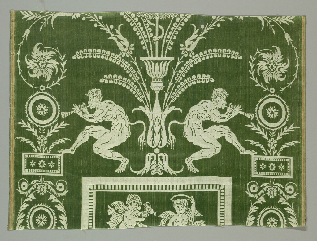 Green and white panel with equestrian and mythological figures, animals and stylized floral motifs. Two attached pieces represent a portion of a larger repeat. The lower panel has addorsed figures of Pan piping along with stylized frames, flowers, medallions, water birds, and a lion. The upper portion depicts a central group mounted on horseback within a frame. Flowers and garlands surround the sides of the frame.
