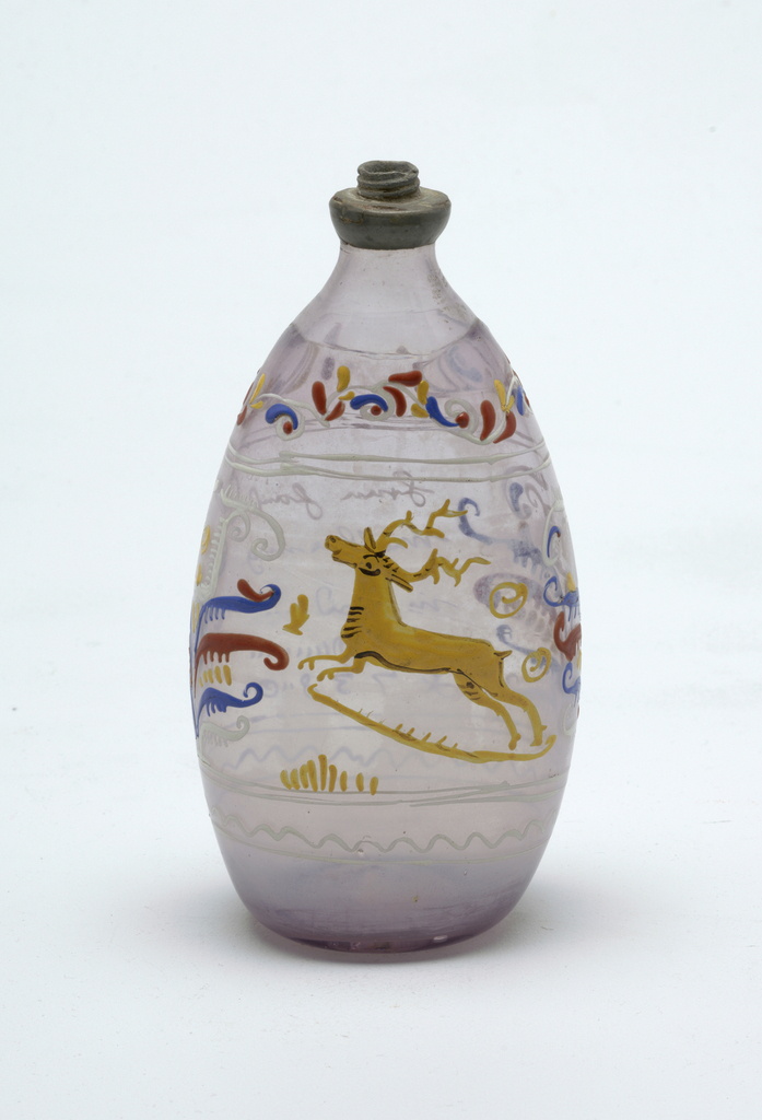 Clear glass tear-drop shaped bottle with painted decoration.  Stag central figure on bottle.