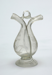 Clear glass flask with two spouts