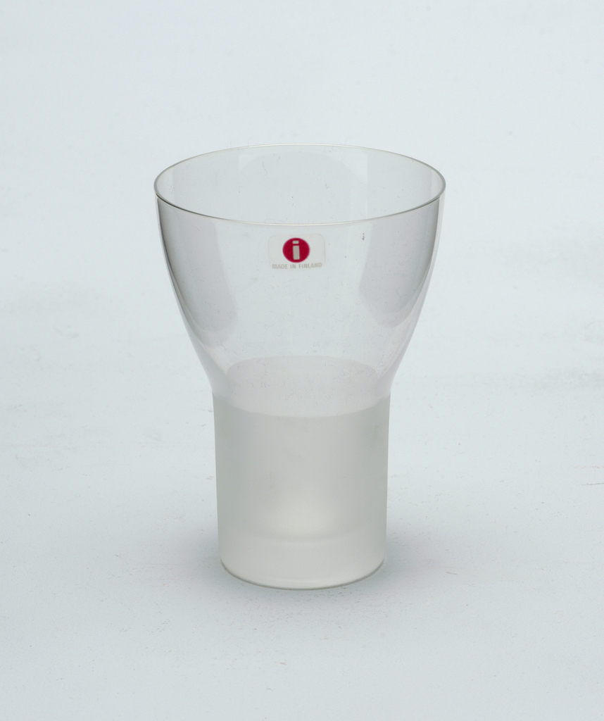 Clear glass goblet with frosted glass stem.  White wine