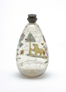 Clear glass bottle with twist-on sliver cap.  Painted decoration, bear central figure on glass