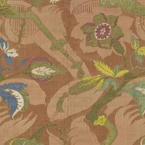 "Flowering tree in an urn in the ""Bizarre"" style in multi-color silk and metallic superimposed on a shadow-like pattern in salmon on salmon background. Unit of straight repeat: 63.5 cm x 25.5 cm (25 x 10 in.)"